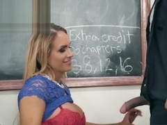 Huge tits teacher Tegan James fucks the cleaning guy