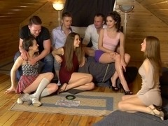 Aruna & Izi & Sabrina & Stephany in hot student girls share big dicks between them