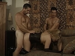 Bi-sexual stud gets his hard cock sucked on a couch then fucks