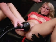 Sensual blonde does blowjob and is fucked with sex toys