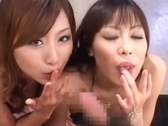 Fabulous Japanese whore Rei Aoki, Natsumi Horiguchi in Exotic Lingerie, Blowjob JAV clip