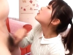 Handsome Japanese young harlot Aya Miyazaki getting a cum blast on her face