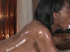 Dicksucking ebony babe doggystyled by masseur - PureSexMatch