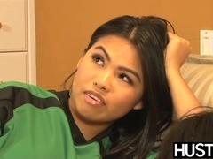 Sporty Asian Cindy Starfall fondles crotch before scissoring
