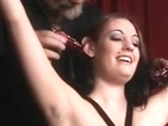 Bitch in leather can't live without being restrained and having her nipps clamped