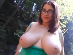 cute nerdy girl with huge natural titties