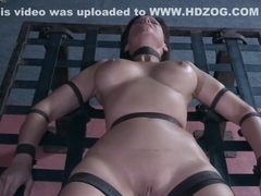 Gagged slave caned once freed from her cage