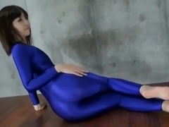 Japanese tranny masturbation in fetish leotard