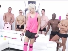 sexy blonde gets fucked by 10 cocks