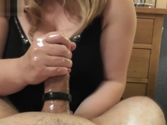 Jenna Gives Oily Handjob - I make my Hubby Cum Quickly and lick it up