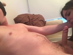 Vocal Moaning Guy Made to Cum by His Girlfriend! Great Blowjob! Big Cumshot