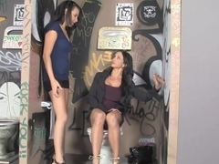 MILF and Teen Suck Dick Through Glory-Hole