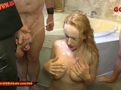 Angel Wicky Gets her Massive Tits Piss Covered - 666Bukkake