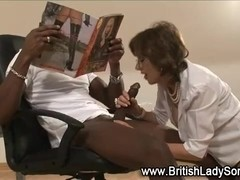 British lady gets interracial facial