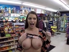 Supermarket big tits flasher