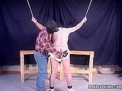 Bound gay guy gets pounded and spanked