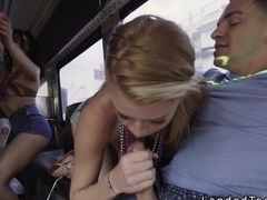 Blonde teen fucks huge dick in party bus