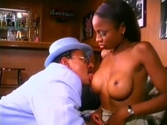 A busty black slut is in dire need of some rough anal ravaging