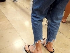 girl with big long feets french pedicured long toes