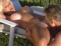 Aged blond lifeguard receives her big pantoons licked by old fella then bonks