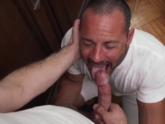 Muscular Mormon homo sucks dick before cumming from bareback