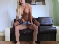 Big ass blonde rides British agents cock
