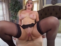POV busty babe in stockings gets banged hard