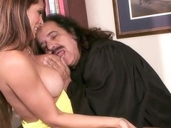 Monique Fuentes wraps her wet lips round Ron Jeremy