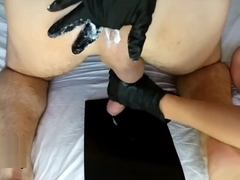 Best prostate milking in the world, hands in black gloves DirtyFamily