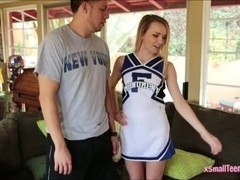 Super tiny cheerleader Carmen Callaway railed by big cock