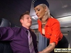 Tattooed stewardess Kleio Valentien screwed up and jizzed on