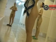 Skinny hairy broads in the public shower caught on a spy cam