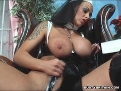 Nun Victoria Brown Bonks Her Fur Pie & A-Hole With A Cross