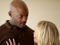 Blonde milf does professional blowjob to ebony guy