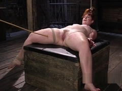 Hogtied redhead fat ass slave caned