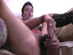 Mature amateur slut double fisted in her cavernous cunt