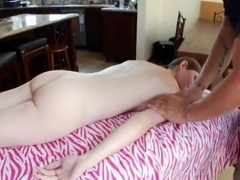 Lovely woman is massaged