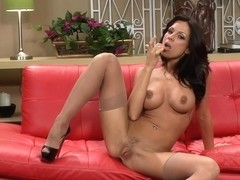Busty Brunette With Sexy Stockings And High - Kirsten Price