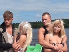 Autumn & Grace & Bianca & Olie & Savannah in outdoors lesbian sex video with cute college girls