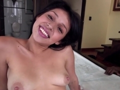 Petite Colombian getting ready for the Monster Cock