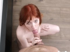 Pale-skinned redhead fucks in hi definition