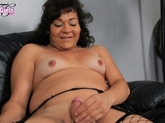 Gina in Gina Strokes Her Cock - BlackTGirls