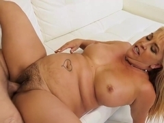 Joclyn Stone is a smashing blonde granny who likes to fuck younger guys, every single day