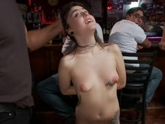 Tiny Cutie gets a GIANT Cock in her Ass in front of total strangers!
