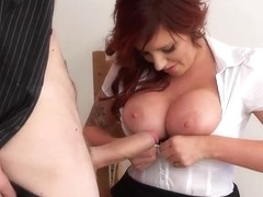 Delightful redhead Yuffie Yulan playing huge tune