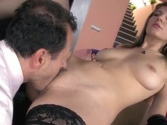 Norah Swan lets rich business man to pound her young holes with great enthusiasm