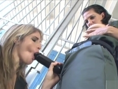 Hottie In Fishnets Gets Fucked By Female Guard
