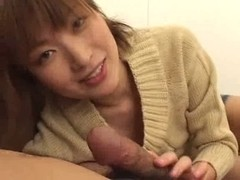 Cute Japanese whore sucks a pecker dry