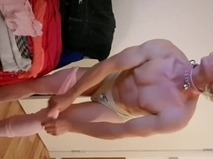 cuckold white sissy faggot cums twice sucking bbc striptease show