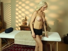 Bigtitted massage amateur pounded on table